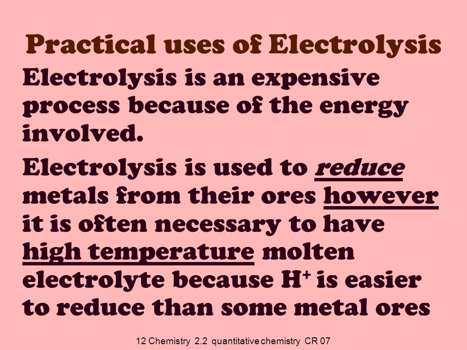 12 Chemistry 2.2 quantitative chemistry CR 07 2.Put the object on the cathode of an electrolytic cell containing Cr 3+ in the electrolyte.
