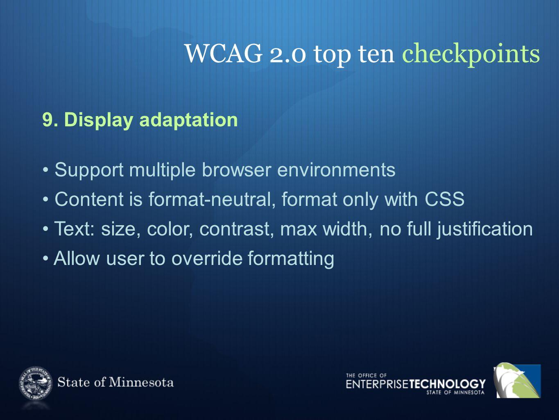 WCAG 2.0 top ten checkpoints 9.