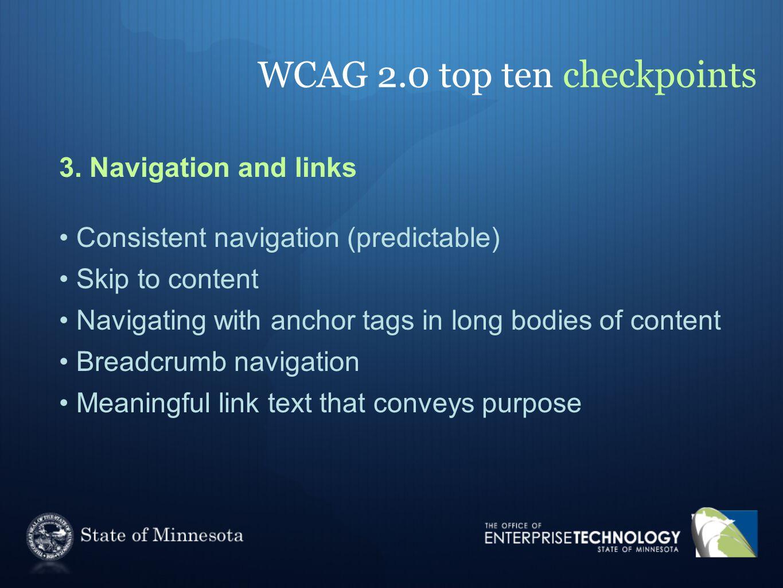 WCAG 2.0 top ten checkpoints 3.
