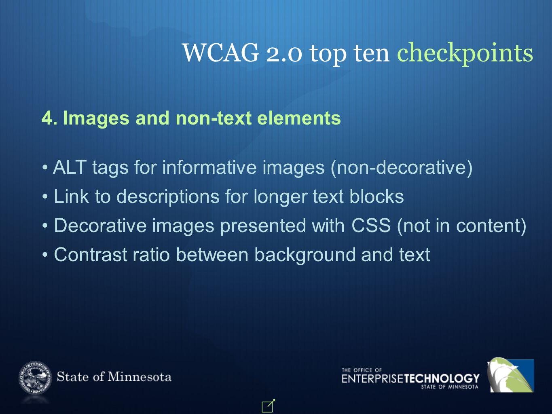 WCAG 2.0 top ten checkpoints 4.