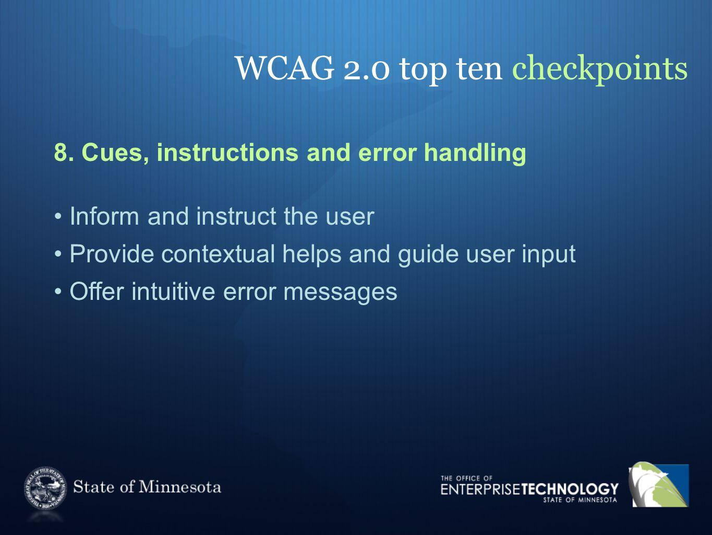 WCAG 2.0 top ten checkpoints 8.
