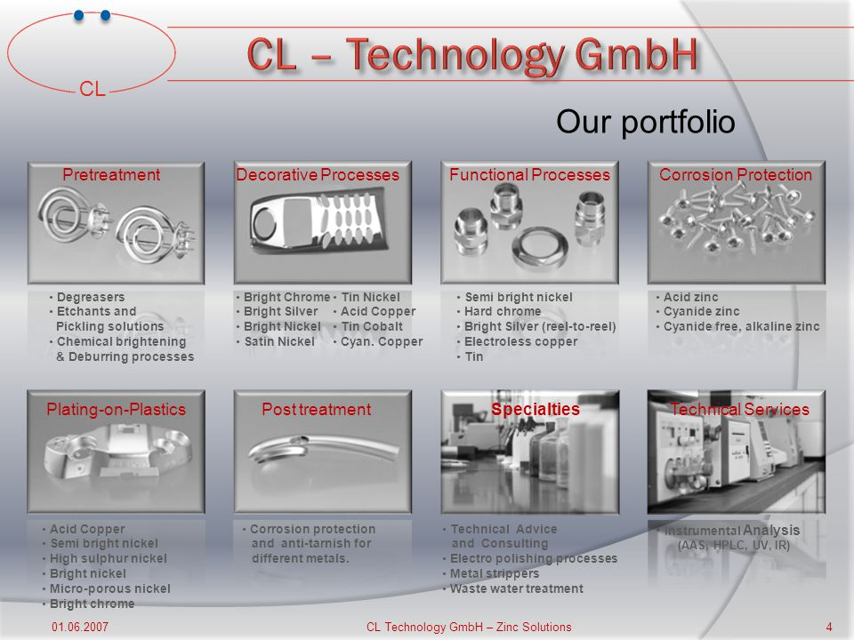CL 01.06.2007 CL Technology GmbH – Zinc Solutions 3 Our Vision Continuous development and realization of innovative plating solutions resulting in significant economical benefits for our customers