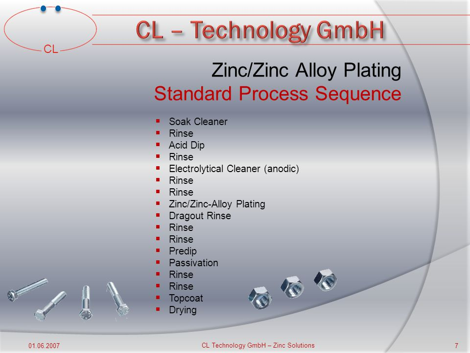 CL 01.06.2007 CL Technology GmbH – Zinc Solutions 6 Corrosion Resistant Coating Zinc/Zinc-Alloy Plating  The protection afforded to iron and steel is largely due to its behaviour as the anode in any electrochemical reaction that may occur.