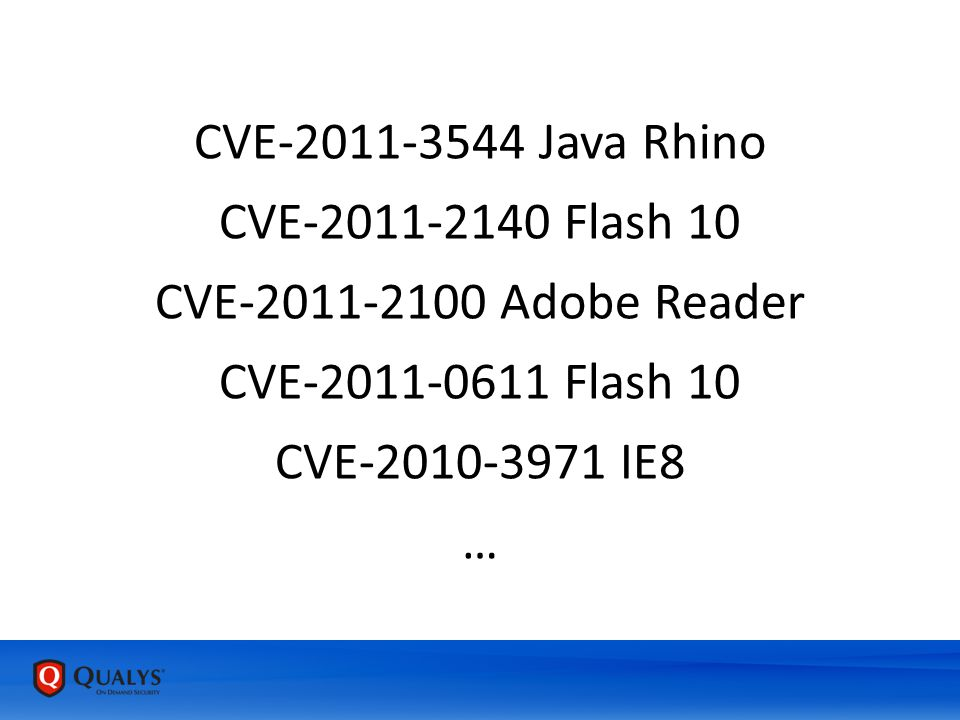 CVE-2011-3544 Java Rhino CVE-2011-2140 Flash 10 CVE-2011-2100 Adobe Reader CVE-2011-0611 Flash 10 CVE-2010-3971 IE8 …