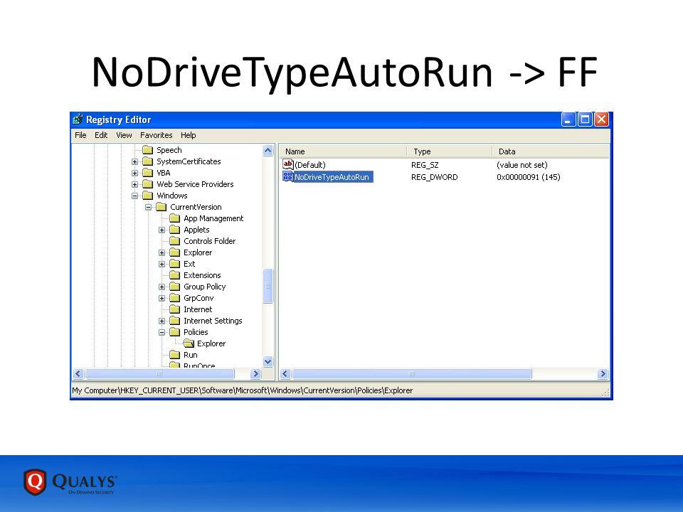 NoDriveTypeAutoRun -> FF