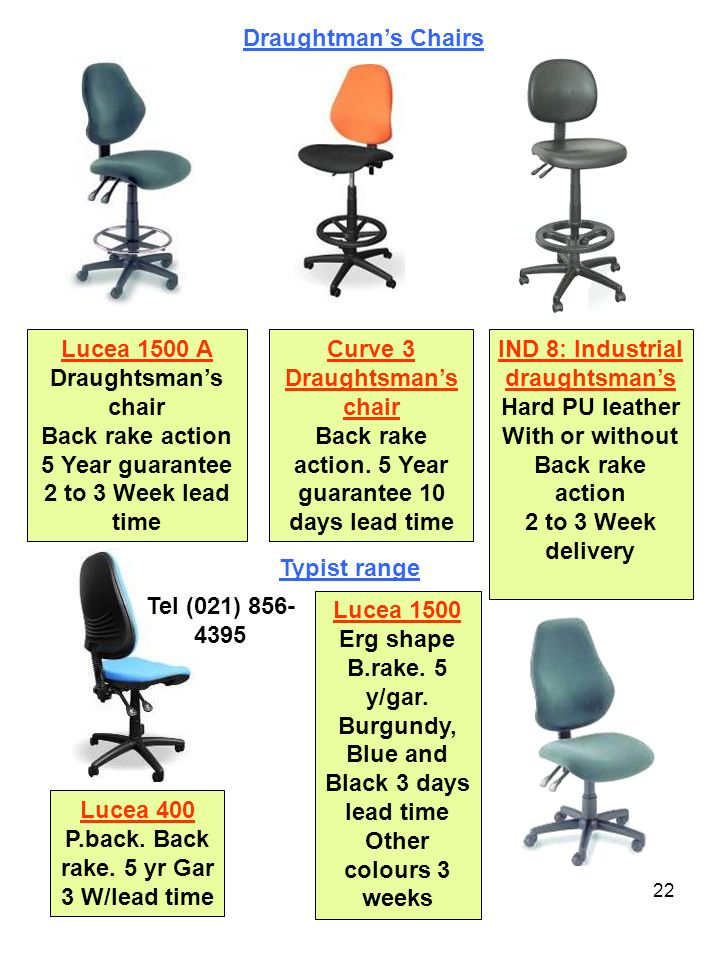 22 Lucea 1500 A Draughtsman's chair Back rake action 5 Year guarantee 2 to 3 Week lead time Curve 3 Draughtsman's chair Back rake action.