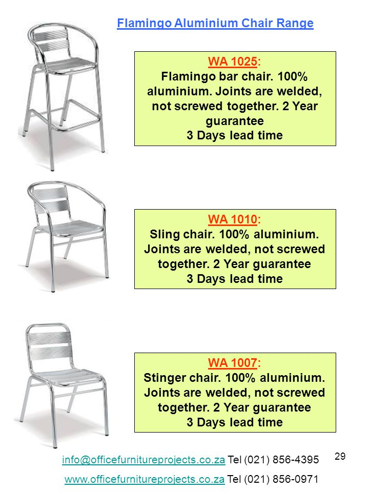 29 WA 1025: Flamingo bar chair. 100% aluminium. Joints are welded, not screwed together.