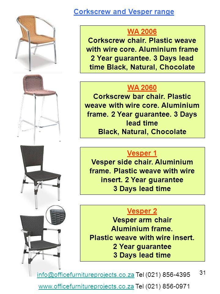 31 WA 2006 Corkscrew chair. Plastic weave with wire core.