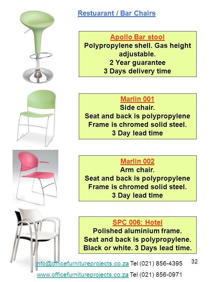 32 Apollo Bar stool Polypropylene shell. Gas height adjustable.