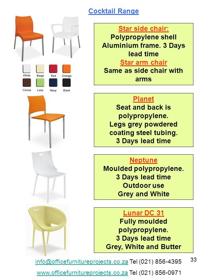 33 Star side chair: Polypropylene shell Aluminium frame.