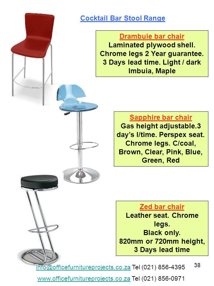 38 Drambuie bar chair Laminated plywood shell. Chrome legs 2 Year guarantee.