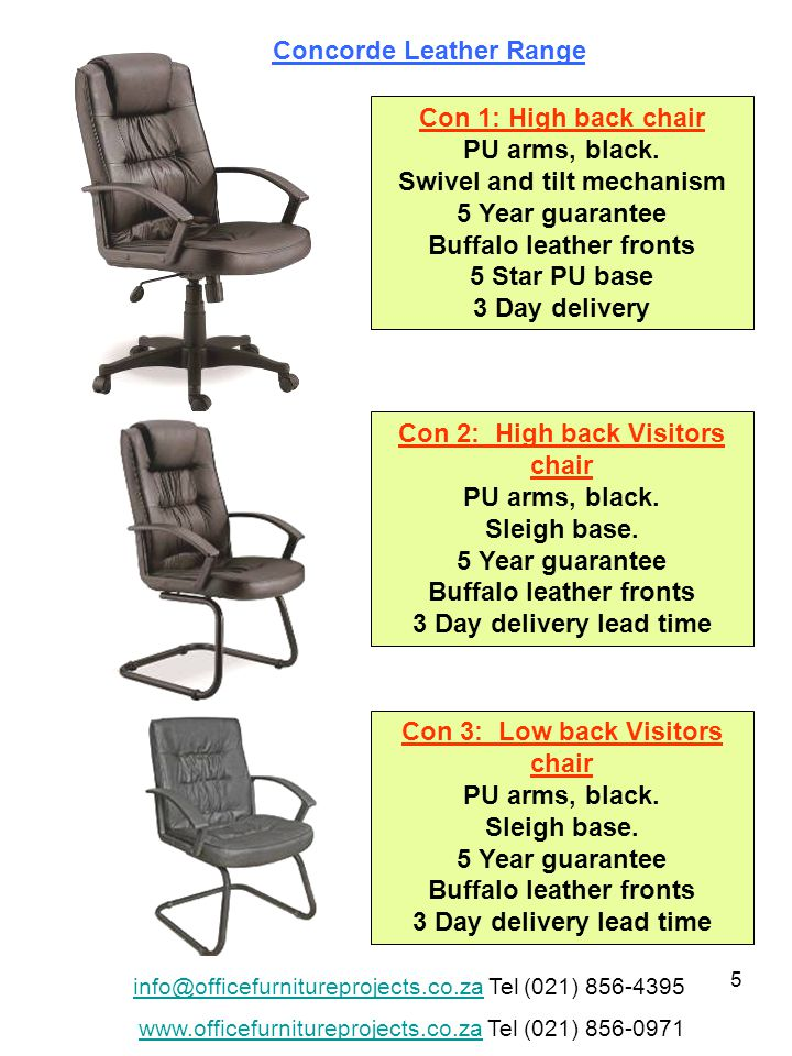 26 Mon 1: Monaco high back chair Executive Gas height adjustment, with swivel and tilt.