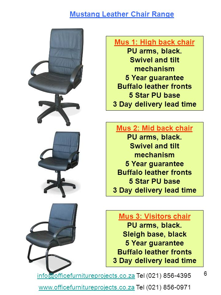 6 Mus 1: High back chair PU arms, black.