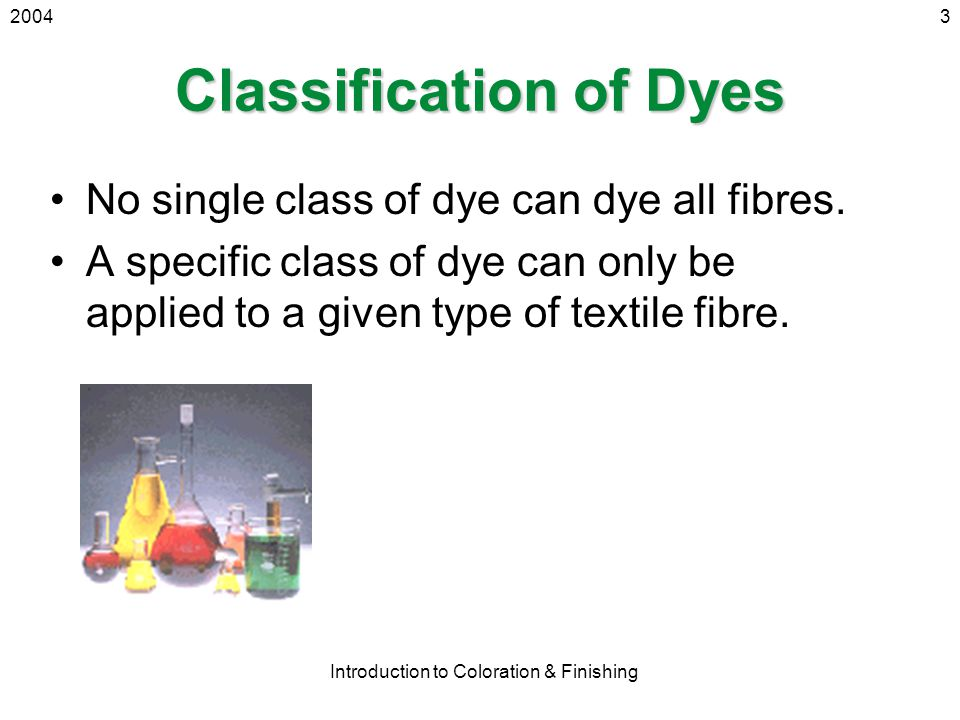 2004 Introduction to Coloration & Finishing 3 Classification of Dyes No single class of dye can dye all fibres. A specific class of dye can only be ap