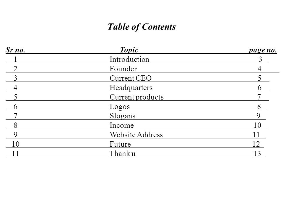 Table of Contents Sr no. Topic page no.