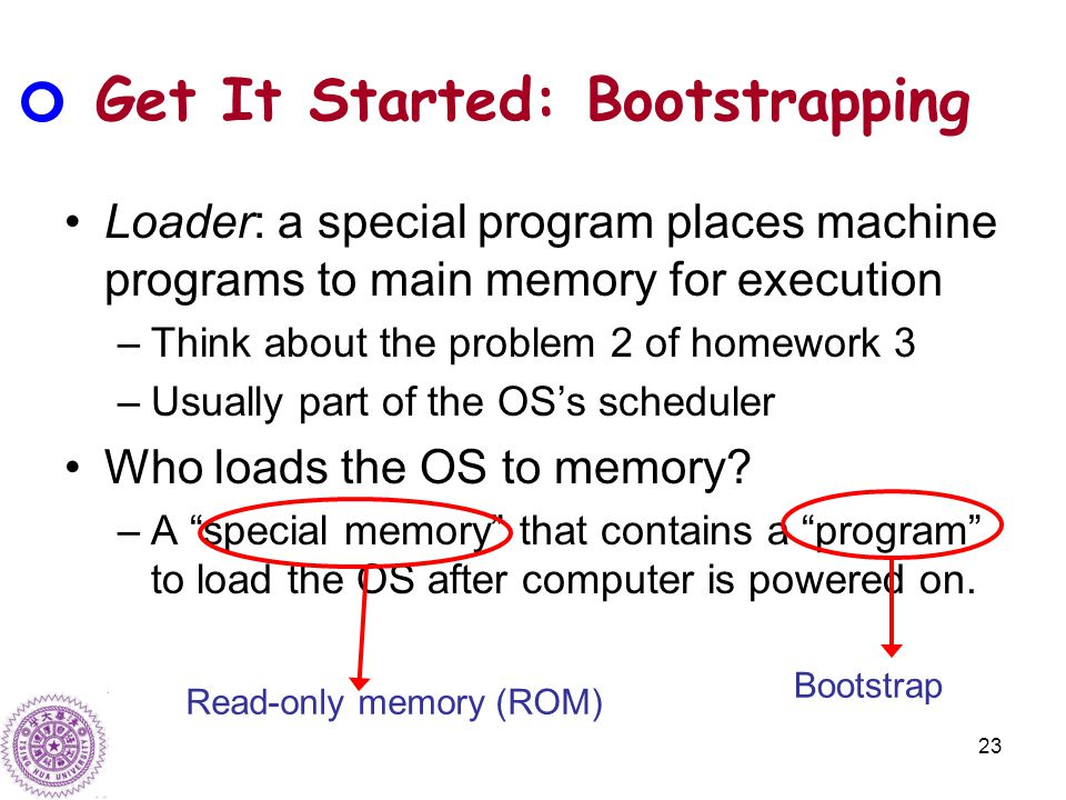 23 Get It Started: Bootstrapping Loader: a special program places machine programs to main memory for execution –Think about the problem 2 of homework 3 –Usually part of the OS's scheduler Who loads the OS to memory.