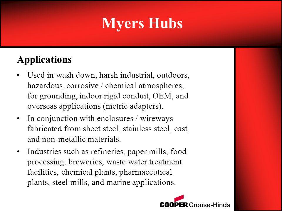 Used in wash down, harsh industrial, outdoors, hazardous, corrosive / chemical atmospheres, for grounding, indoor rigid conduit, OEM, and overseas app