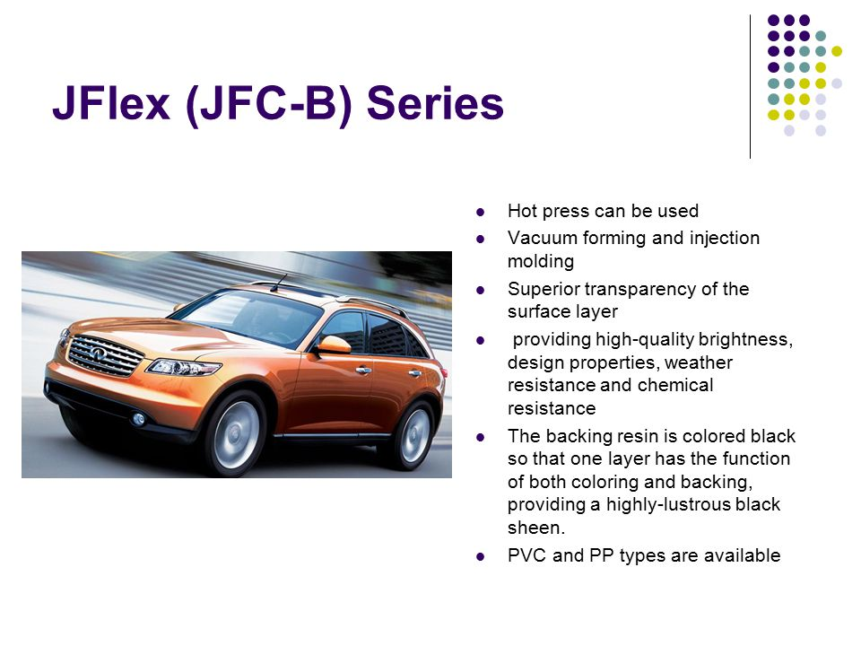 JFlex (JFC-B) Series Hot press can be used Vacuum forming and injection molding Superior transparency of the surface layer providing high-quality brig