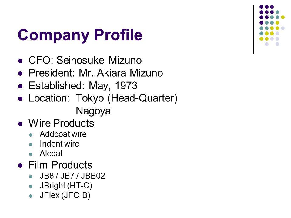 Company Profile CFO: Seinosuke Mizuno President: Mr.
