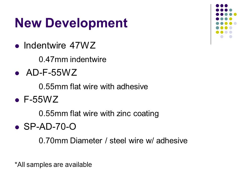 New Development Indentwire 47WZ 0.47mm indentwire AD-F-55WZ 0.55mm flat wire with adhesive F-55WZ 0.55mm flat wire with zinc coating SP-AD-70-O 0.70mm