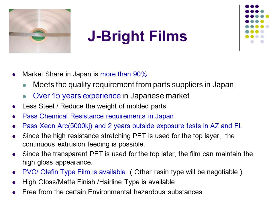 J-Bright Films Market Share in Japan is more than 90 % Meets the quality requirement from parts suppliers in Japan. Over 15 years experience in Japane