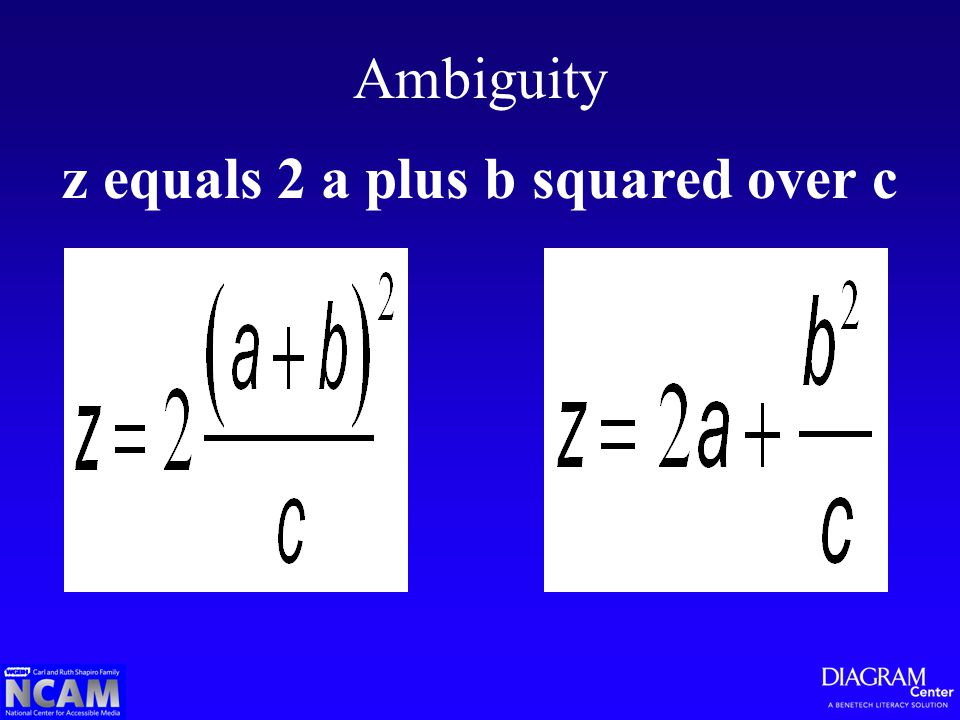 Ambiguity z equals 2 a plus b squared over c