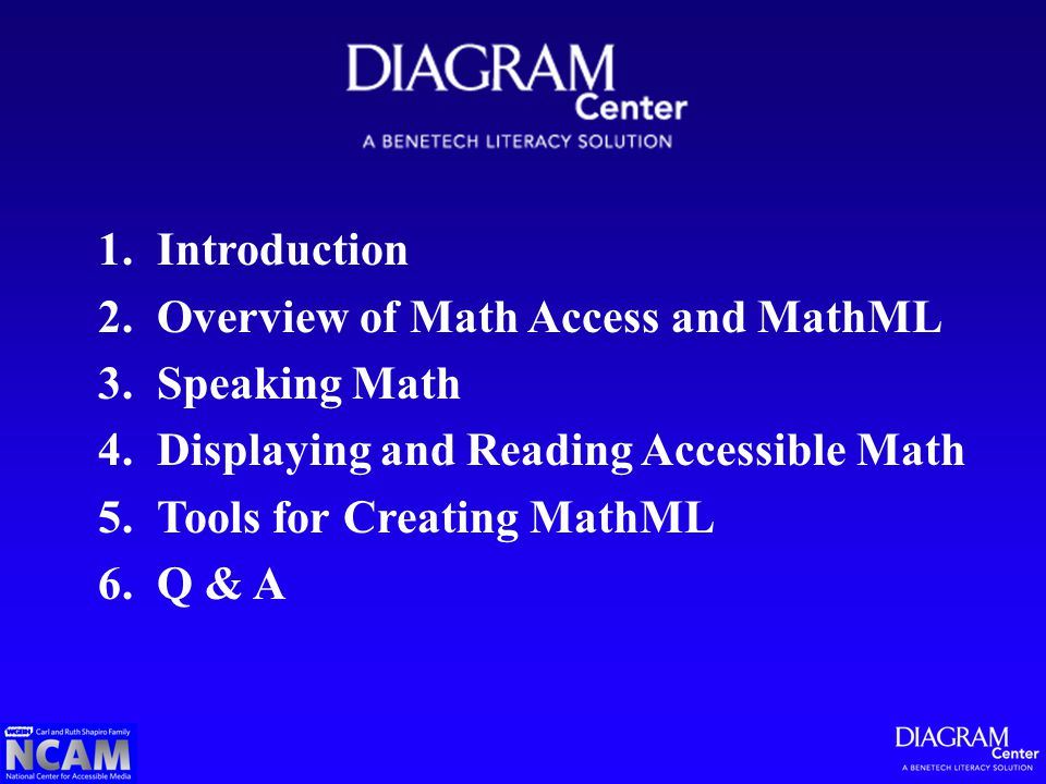 1.Introduction 2.Overview of Math Access and MathML 3.Speaking Math 4.Displaying and Reading Accessible Math 5.Tools for Creating MathML 6.Q & A