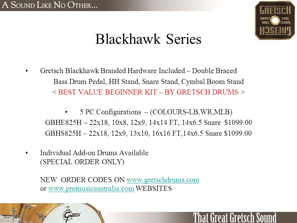 Blackhawk Series Gretsch Blackhawk Branded Hardware Included – Double Braced Bass Drum Pedal, HH Stand, Snare Stand, Cymbal Boom Stand 5 PC Configurat