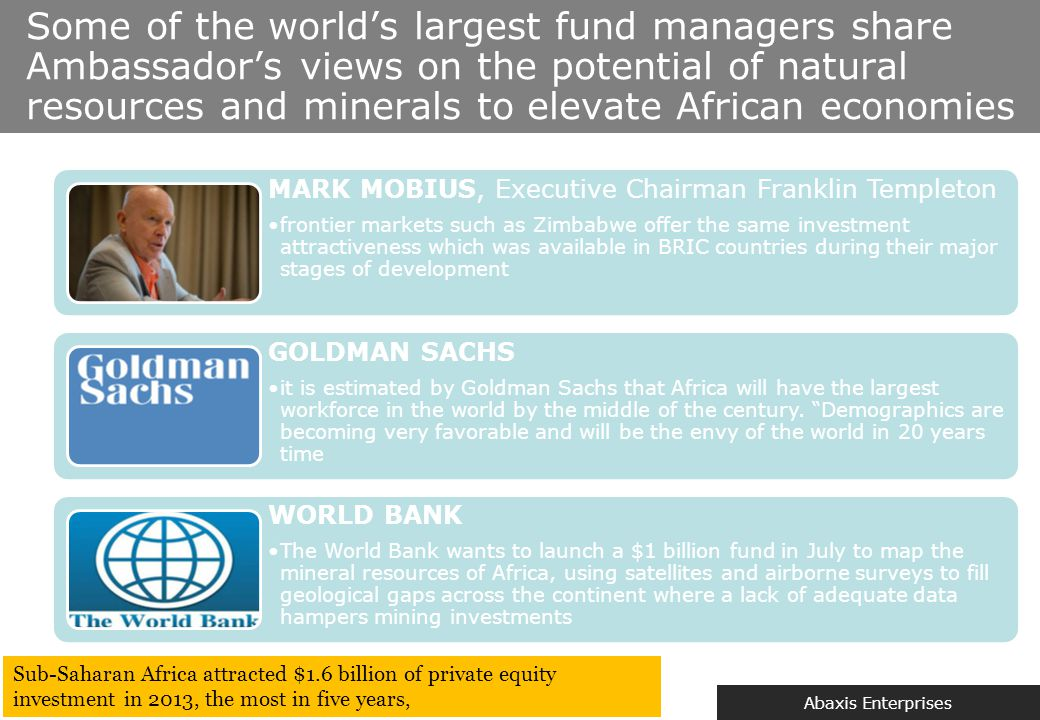 Abaxis Enterprises Some of the world's largest fund managers share Ambassador's views on the potential of natural resources and minerals to elevate Af