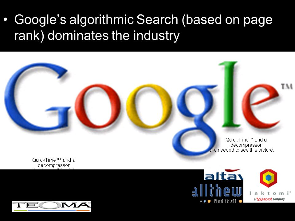 Google's algorithmic Search (based on page rank) dominates the industry