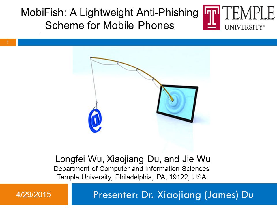 Conclusion 4/29/2015 22  We proposed MobiFish, a novel lightweight mobile phishing defense scheme.