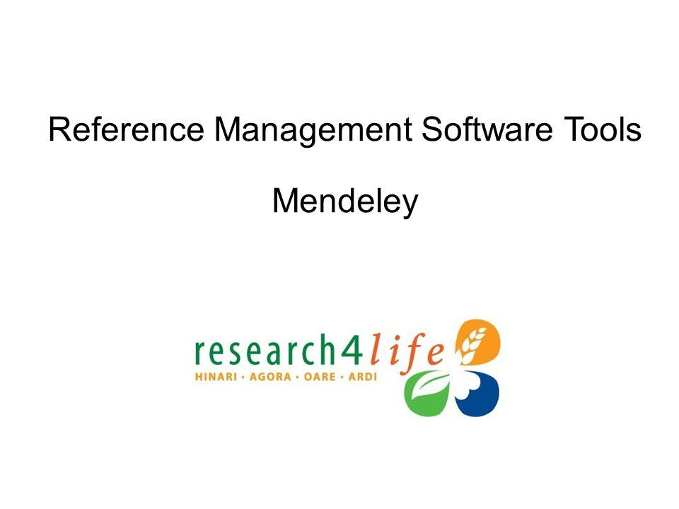 Reference Management Software Tools Mendeley