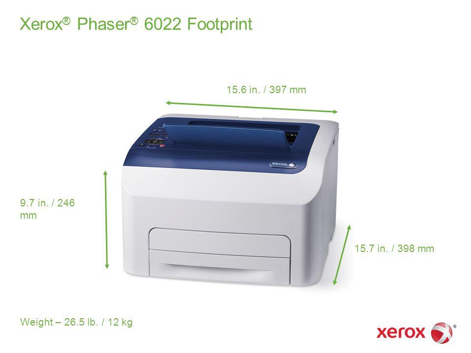 Xerox ® Phaser ® 6022 Footprint 15.6 in. / 397 mm 15.7 in.