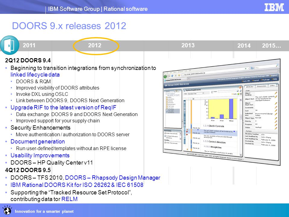 IBM Software Group | Rational software Innovation for a smarter planet 201320122011 DOORS 9.x releases 2012 2Q12 DOORS 9.4 Beginning to transition int