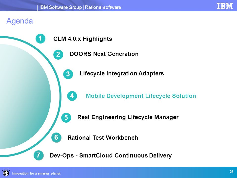 IBM Software Group | Rational software Innovation for a smarter planet Agenda CLM 4.0.x Highlights Mobile Development Lifecycle Solution 22 1 3 Lifecy