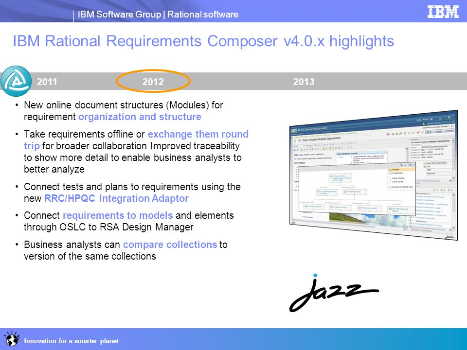 IBM Software Group | Rational software Innovation for a smarter planet IBM Rational Requirements Composer v4.0.x highlights 201320122011 New online do