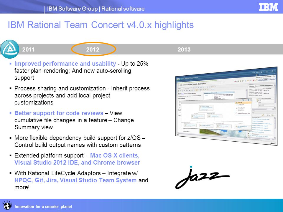 IBM Software Group | Rational software Innovation for a smarter planet IBM Rational Team Concert v4.0.x highlights 201320122011  Improved performance
