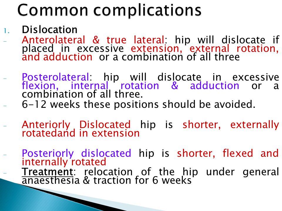 2. Venous thrombi 3. Fracture 4. Postoperative thigh pain 5. Failure 6. infection