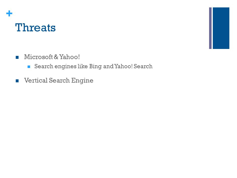 + Threats Microsoft & Yahoo! Search engines like Bing and Yahoo! Search Vertical Search Engine