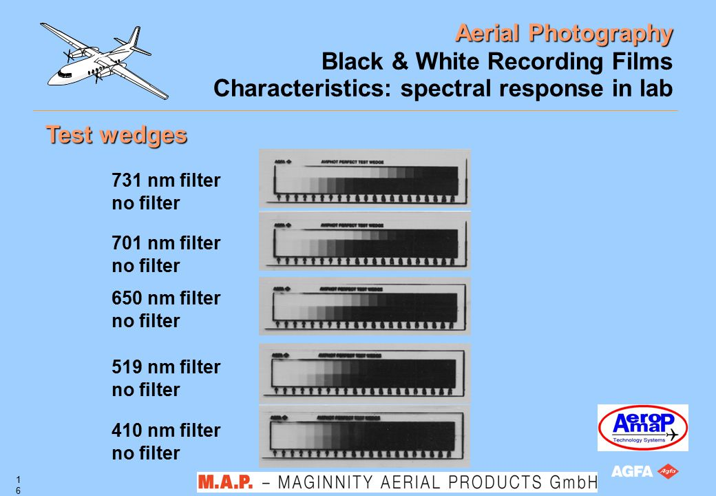 Aerial Photography 16 Black & White Recording Films Characteristics: spectral response in lab Test wedges 731 nm filter no filter 701 nm filter no fil