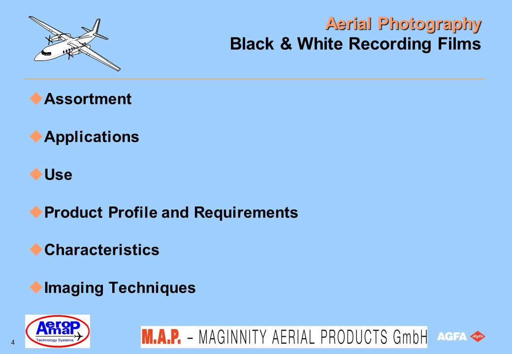 Aerial Photography 55 After Sales Application Support Processing Control SPC (Statistics Process Control) support programme Pre-exposed wedges on Pan 200 Sensitometric graph paper for B/W curves Aerial Sensitometer Aviphot Perfect unexposed wedges on Aviphot Pan 200