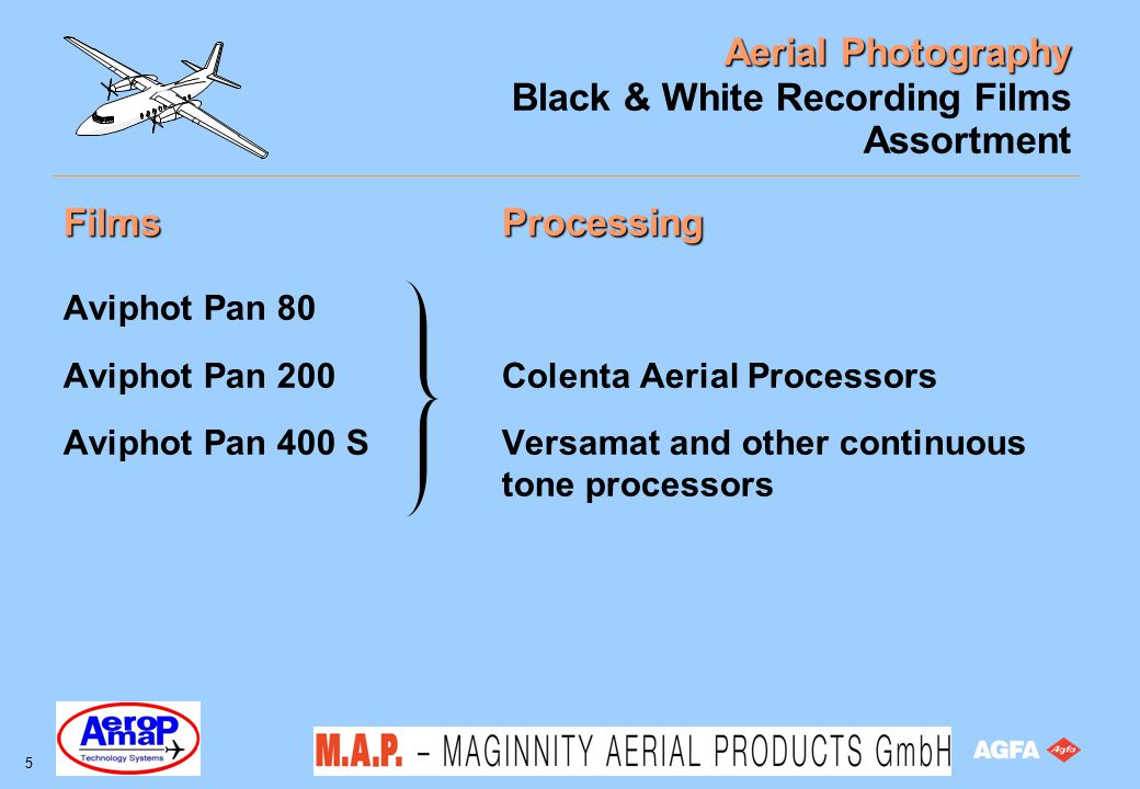 Aerial Photography 16 Black & White Recording Films Characteristics: spectral response in lab Test wedges 731 nm filter no filter 701 nm filter no filter 650 nm filter no filter 519 nm filter no filter 410 nm filter no filter