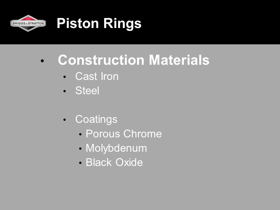Piston Rings – Break-in Cylinder bore finish (honed) at 1000X