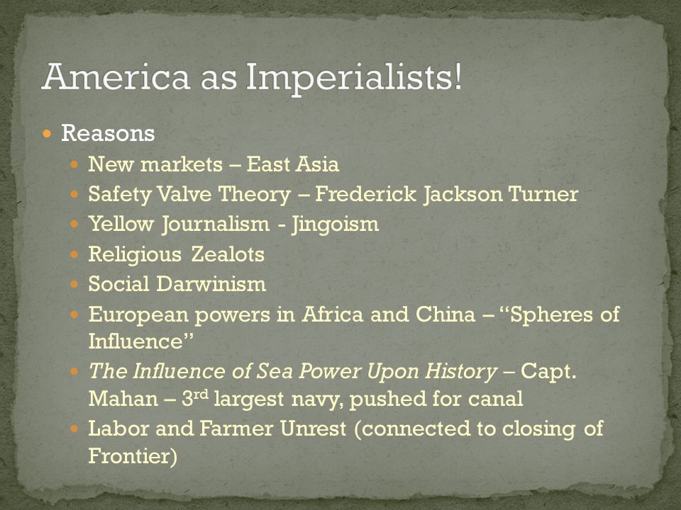 Reasons Reconstruction Industrialization Westward Expansion No power to colonize or intervene