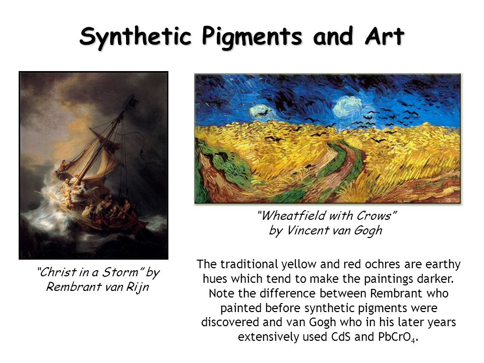 Synthetic Pigments and Art Wheatfield with Crows by Vincent van Gogh Christ in a Storm by Rembrant van Rijn The traditional yellow and red ochres are earthy hues which tend to make the paintings darker.