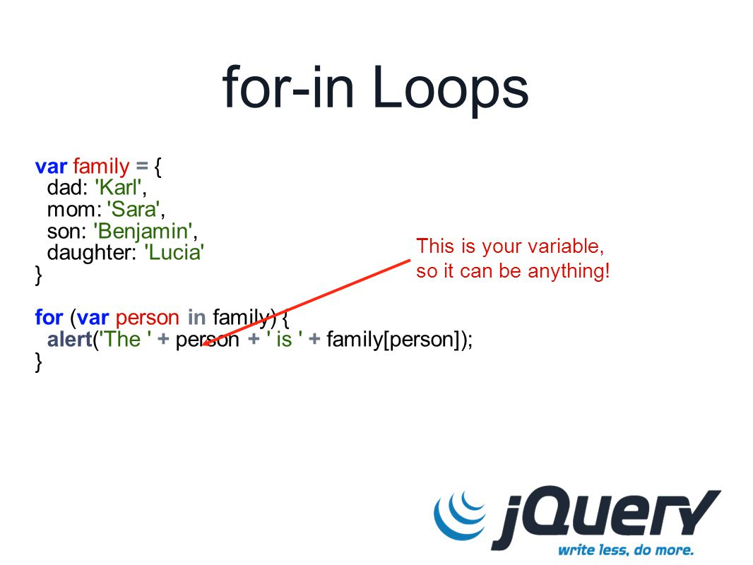 for-in Loops var family = { dad: 'Karl', mom: 'Sara', son: 'Benjamin', daughter: 'Lucia' } for (var person in family) { alert('The ' + person + ' is '
