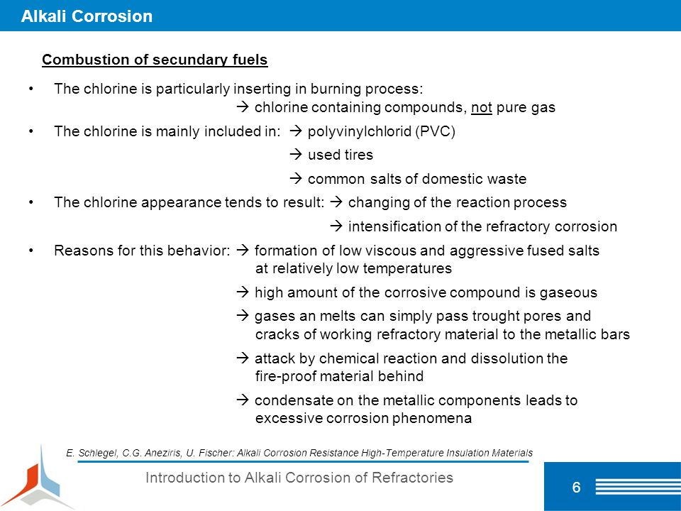 7 Alkali Corrosion Secondary fuels solid (plastic, rubber, battery, animal residues; tyres, domestic waste...) liquid (used oil, tar, chemical wastes...) gaseous (landfill, pyrolysis gas) Alkalibursting and chemical spalling of the refractories Gas corrosion (condensation) of the metal components Organic Compounds alkalis sulfates chlorides.
