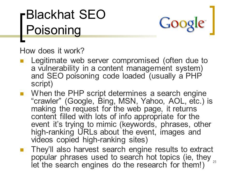 Blackhat SEO Poisoning How does it work.
