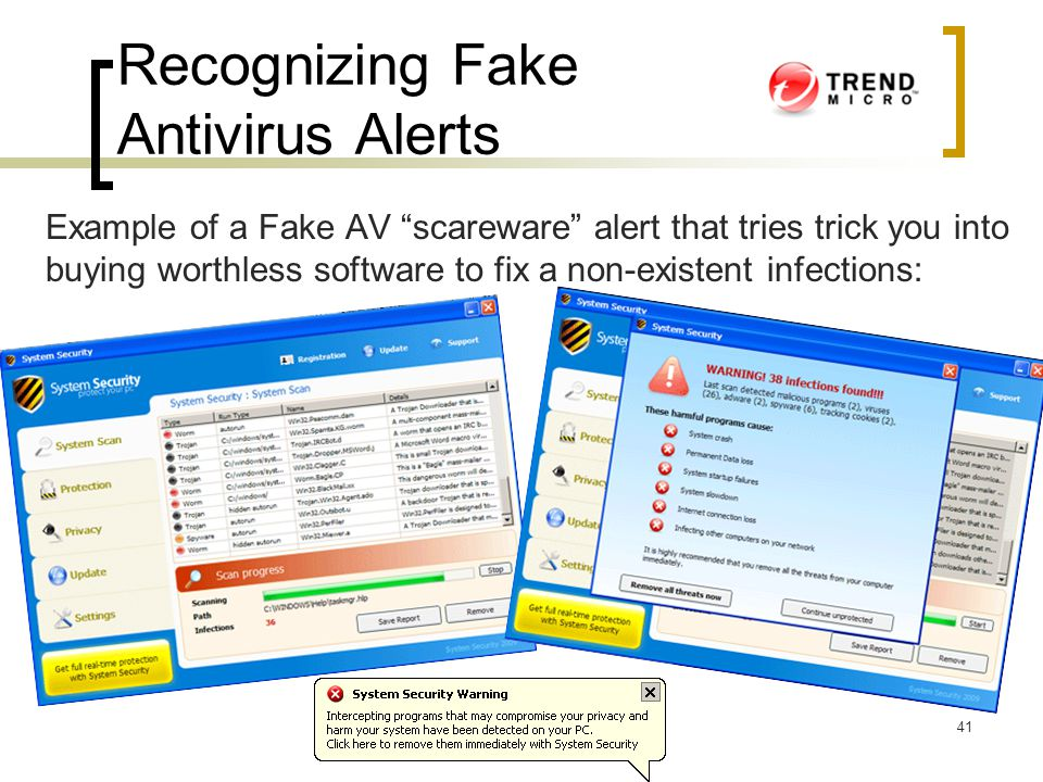 """Recognizing Fake Antivirus Alerts Example of a Fake AV """"scareware"""" alert that tries trick you into buying worthless software to fix a non-existent inf"""