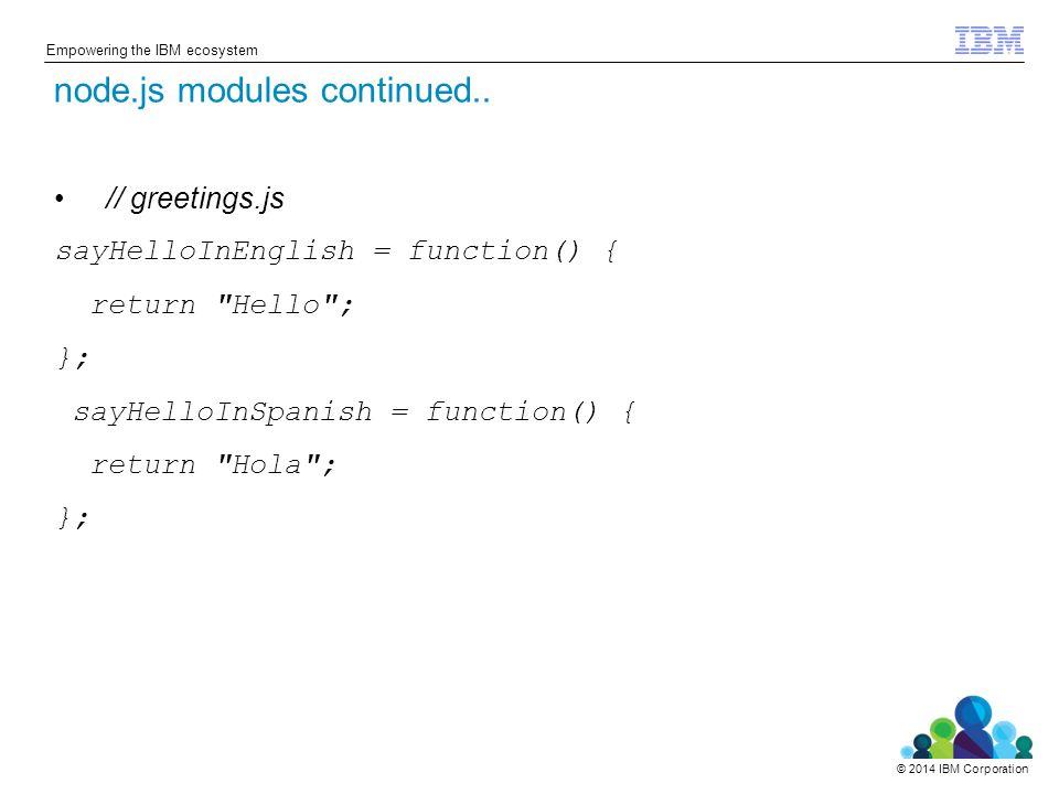 © 2014 IBM Corporation Empowering the IBM ecosystem // greetings.js sayHelloInEnglish = function() { return